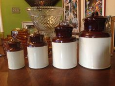 Vintage McCOY Pottery Milk Can Canister Set in by aSaintinExile