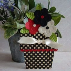 black and red Flower Pot Card!
