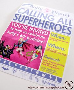 Girls Superhero Party Invite