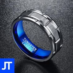 Nuncad Brushed Finish Tungsten Carbide Wedding Band with Groove for Men Grey Beveled Edge Size 9 ** More info could be found at the image url. (This is an affiliate link) Tungsten Engagement Rings, Tungsten Mens Rings, Engagement Rings For Men, Titanium Rings, Mens Stainless Steel Rings, Blue Rings, Fashion Rings, Fashion Jewelry, Wedding Bands