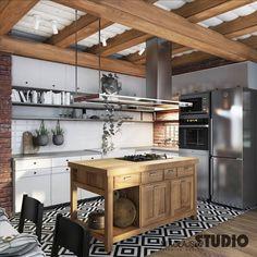 nowoczesna kuchnia z wyspą: styl , w kategorii Kuchnia zaprojektowany przez MIKOŁAJSKAstudio