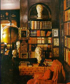 A library layered to perfection in finery (Vittoriale degli Italiani Estate, Italy) ~Splendor Hollywood Regency Decor, Glam House, Vintage Gothic, Billiard Room, Cozy Corner, Living Room Inspiration, Beautiful Interiors, Sculpture, Country Decor