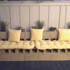 Cinder Block bench...for against deck wall