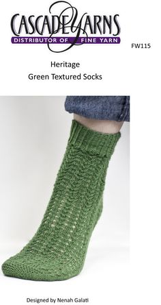 Green Textured Socks in Cascade Heritage - FW115. Discover more Patterns by Cascade Yarns at LoveKnitting. We stock patterns, yarn, needles and books from all of your favorite brands.