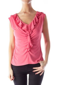 efa8e9c015182 Add a pop of color to your summer wardrobe Pink Ruffle Silk Shirt by  Lafayette 148 New York