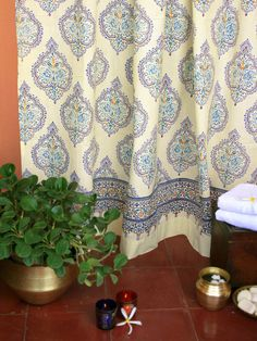 Morning Dew ~ Blue Yellow French Fair Trade Bath Shower Curtain - i love everything on this website! curtains, bedding, etc!