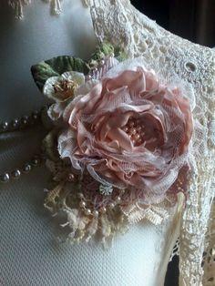 Silk rose brooch/corsagehair by susanjanescreations on Etsy