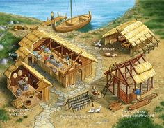 Modern rendering of Smaller Longhouse and surrounding structures.