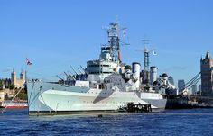 HMS Belfast, a Southampton class cruiser in camouflage pattern.