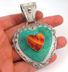 DAN DODSON Large Sterling Silver Turquoise Spiny Oyster Shell Heart Pendant J #DanDodson