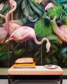 Beautiful tropical flamingo printed wall panels - a great example of 2 of our top 10 interior design trends for art deco and unusual wall coverings. I love this mural; the pale pink and lush green work so well together and it adds such drama and imp Interior Tropical, Tropical Decor, Tropical Style, Tropical Paradise, Botanical Interior, Green Interior Design, Tropical Design, Modern Interior, Modern Decor