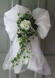 Items similar to Wedding Decorations Rose Ivy Tulle Bows Pews Doors Chairs on Etsy Elegant Decorations with Tulle Tulle Wedding Decorations, Pew Decorations, Wedding Wreaths, Wedding Centerpieces, Wedding Table, Wedding Bouquets, Wedding Church, Flowers Decoration, Wedding Backdrops