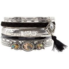 Multipack Silver Tassel Shell Bangles ($9.90) ❤ liked on Polyvore featuring jewelry, bracelets, silver bangles, silver hinged bangle, hinged bracelet, engraved bangle bracelet and shell bangles