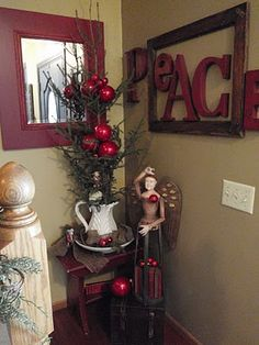 """Rustic Christmas. Love the """"Peace"""" lettering"""