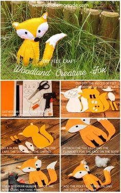 Woodland Creature - DIY felt Fox - Wellies and Lemonade Fox Crafts, Easy Crafts, Crafts For Kids, Arts And Crafts, Animal Crafts, Craft Projects, Sewing Projects, Craft Ideas, Idee Diy
