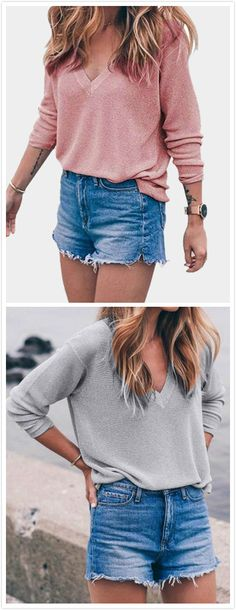 Who doesn't love a classic jumper! This v-neck and long sleeves sweater is simple but fashion. Style it with a casual singlet and skinny jeans for a cute casual outfit.