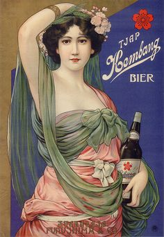 Kembang Beer vintage antique ad advert (Sakura Beer export label), 1912-1916