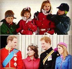 Cousins---William, Eugenia, Harry and Beatrice