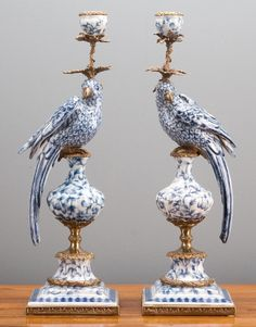 Pair of Oriental Bronze Ormolu Aviary Birds Porcelain Candle Holders