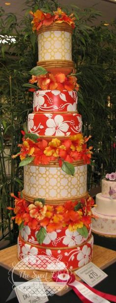 Hawaiian wedding cake featuring hibiscus flowers & bamboo - cake by Julie Tenlen Hawiian Wedding Cake, Wedding Cake Red, Hawiian Party, Orange Wedding, Cake Icing, Eat Cake, Cupcake Cakes, Cupcakes, Cake Cookies