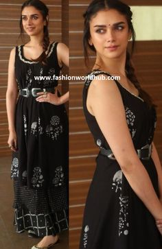 "Aditi Rao attended the event of Sam mohanam movie promotional event and she was seen in black printed maxi dress by ""Myoho"" and she completed her look with simple hair style and black bindee. Indian Designer Outfits, Indian Outfits, Ethnic Fashion, Indian Fashion, Stylish Dresses, Fashion Dresses, Frock Models, Casual Day Outfits, Beautiful Suit"