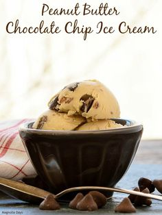 Peanut Butter Chocolate Chip Ice Cream is old-fashioned with a cooked base and churned. It is rich, creamy, and loaded with chocolate chips.