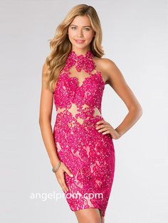 Sheath/Column High Neck Lace Homecoming Dresses/Cocktail Dress