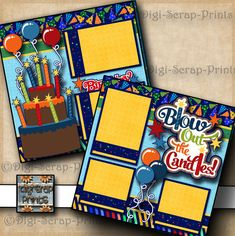 BIRTHDAY ~ 2 premade scrapbook pages paper piecing layout for album ~ DIGISCRAP | eBay