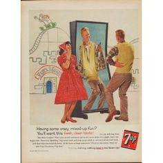 "1960 SEVEN-UP COMPANY ""7-UP CRAZY, MIXED-UP FUN?"" Ad"