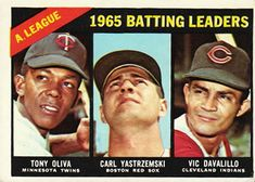 216 - AL 1965 Batting Leaders - Tony Oliva - Carl Yastrzemski - Vic Davalillo Twins Baseball, Indians Baseball, Baseball Star, Cleveland Baseball, Detroit Tigers Baseball, Cleveland Indians, Old Baseball Cards, Baseball Photos, American League