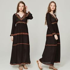 BABAKUD Vintage Floral Bohemian Flare Sleeve Embroidered Maxi Dress Bohemia Dress, Holiday Dresses, Vintage Floral, Silk Dress, Flare, Crew Neck, Short Sleeve Dresses, Bohemian, Casual