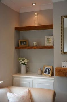 Best Living Room Shelves Alcove Colour Ideas - World Fashion Week Living Room With Tv, Alcove Ideas Living Room, Cottage Living Rooms, Living Room Shelves, Living Room Storage, Home Living Room, Living Room Designs, Cosy Living Room Small, Cosy Living Room Decor