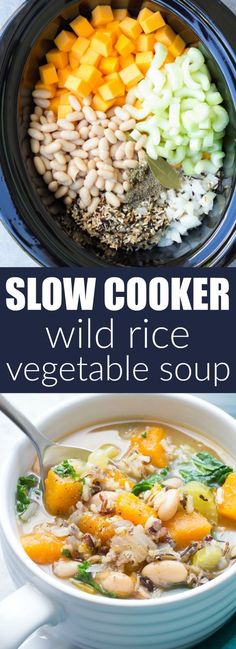 Slow Cooker Wild Rice Vegetable Soup - This healthy crock pot soup is great for meal prep lunches and dinners! With butternut squash and kale. Vegetarian & vegan | http://www.kristineskitchenblog.com