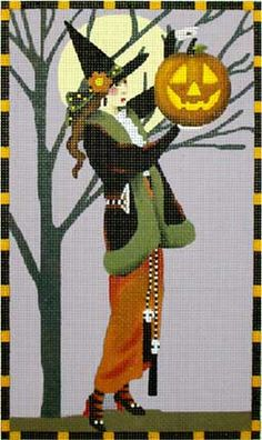 Melissa Shirley Designs | Hand Painted Needlepoint | Witch with Big Pumpkin