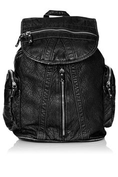 Washed multi zip backpack