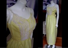 Vintage 1970s Yellow and White Dotted Swiss Ruffle Dress Maxi Paririe Dress Boho Victorian Steampunk by WestCoastVintageRSL, $32.00