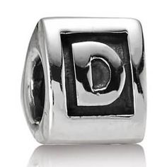 Letter D Charm Sterling Silver