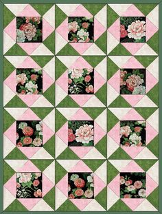 Peonies n Mums Quilt Kit Precut Blocks