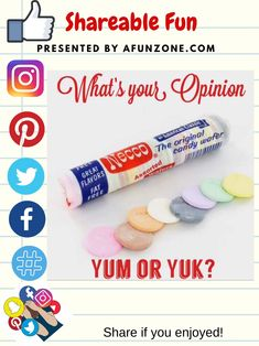 #Solve #Share and #Pin #Facebook #Twitter #Instagram #Pinterest #Like - #Candy #Necco #Wafers #Good #Yum #Yuck #Flavors #American #Classic #Retro