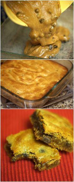 Flourless Peanut Butter Chocolate Chip Blondies Follow my personal GFDF Board: @hannah_hansen2 https://www.pinterest.com/hannah_hansen2/gfdf/