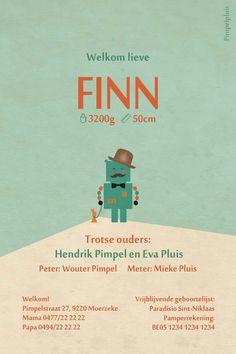 Geboortekaartje Finn - achterkant - Pimpelpluis - https://www.facebook.com/pages/Pimpelpluis/188675421305550?ref=hl (# vintage - retro - robot - konijn - origineel)