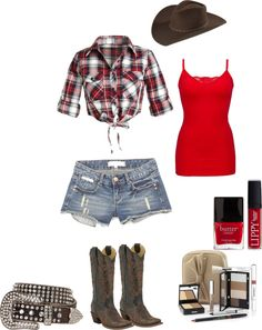"""""""Brown/Red Country Outfit"""" by haileyanne1995 on Polyvore"""