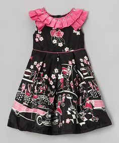 Take a look at this Black Paris Scene Pleated Yoke Dress - Infant, Toddler & Girls by Donita on #zulily today!