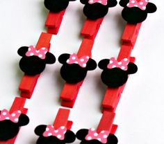 Pink Minnie Mouse Mini Clothespins Treat Bag Banner Clips Set of 12 on Etsy, $9.54 CAD