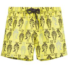 Sunuva - Yellow Sun Protective Zebra Swim Shorts (UPF 50+)  | Childrensalon