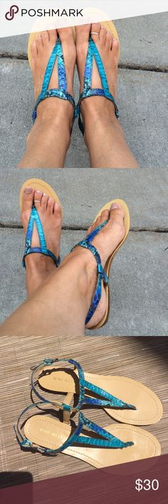 Turquoise Faux Snakeskin Sandals NWT You'll sssssizzle in these fabulous man made snakeskin sandals!  Bright turquoise faux snakeskin adorns these adorable sandals.  Snake and vegan friendly!  Perfect for a day at the beach or a night on the town.  New with tags on bottom of shoes.  Only worn for modeling purposes. Nine West Shoes Sandals