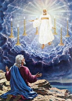 "John's First Vision of What is to Come - ""I turned around to see the voice that was speaking to me. And when I turned I saw seven golden lampstands, 13 and among the lampstands was someone like a son of man,[d] dressed in a robe reaching down to his feet and with a golden sash around his chest. 14 The hair on his head was white like wool, as white as snow, and his eyes were like blazing fire. 15 His feet were like bronze glowing in a furnace, and his voice was like the sound of rushing…"