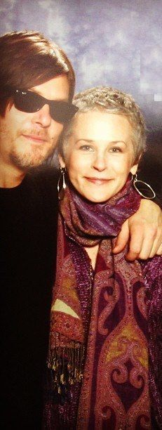 Norman Reedus & Melissa McBride #TWD love Melissa's style and never ending cool wardrobe of scarves.
