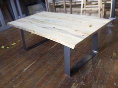 pine and metal coffee table