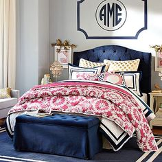 Eliza Tufted Bed + Headboard #pbteen Love these colors together.